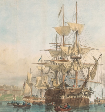 Coloured illustration of ship in harbour with smaller boats being rowed to shore in foreground.