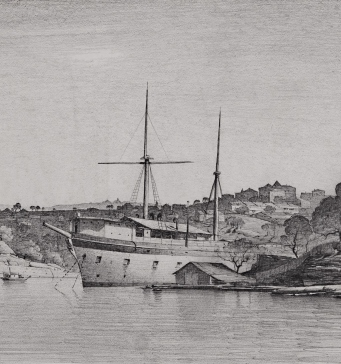 This is a pencil drawing of a ship moored near a headland