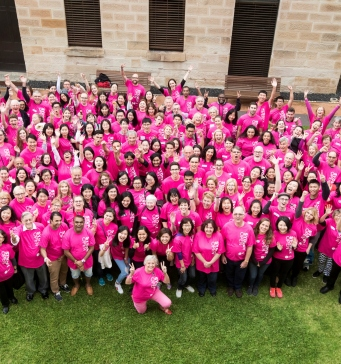 Volunteers in the courtyard of The Mint for the closing celebration of Sydney Open 2017