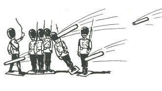 This is a black and white drawing of toy soldiers with English bearskin hats under fire from projectiles