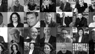 Photo montage in black and white of many portraits of people.