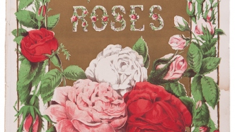 Colourful roses on the cover of a sheet music book.