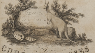 Ornately decorated printed cover with kangaroo design at top, with title printed below.