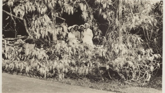 Black & white image of women half hidden by huge blooming wisteria vine.