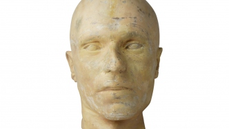 Plaster death mask of man's head