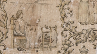 illustration of a young boy lying a bed with rats running over the bed sheets. There is a chair and a wooden bedhead. The scene is framed with floral shapes and motifs.