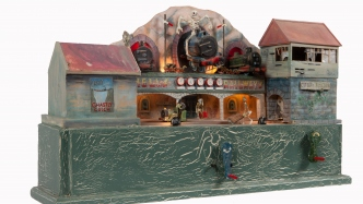 Model of a ghost train railway bridge with ghosts.