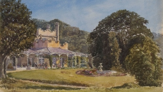 Watercolour painting of Vaucluse House created by Frederick L Fisher, 1874