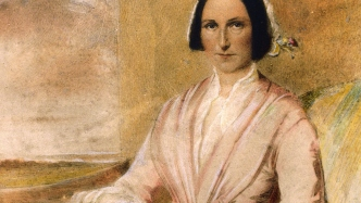Watercolour portrait of Sarah Wentworth. She is seated and looks directly at the viewer. Wears a pink dress with white lace decoration.