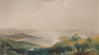 image of painting showing a dramatic panoramic view of harbour surrounded by natural bushland with Vaucluse estate in the foreground.