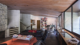 Living room, Harry & Penelope Seidler House, Killara NSW