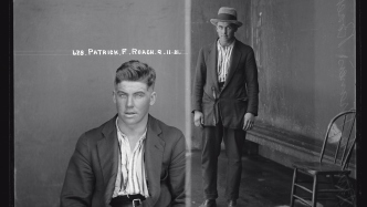 Dual mugshot, man seated and man standing with hat on.