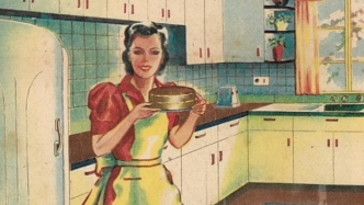 Coloured illustration of woman in modern kitchen of 1945.