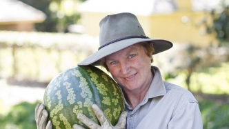 Horticulturist Anita Rayner holding a melon in the kitchen garden at Vaucluse House
