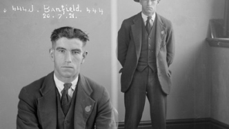 Dual mugshot - seated and standing, man in suit.