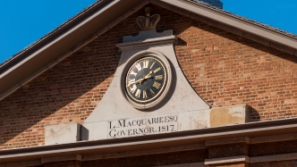 The clock at the Hyde Park Barracks Museum