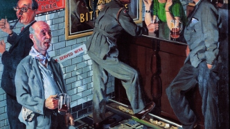 Painting of interior of a pub bar; a barmaid chats to a uniformed soldier while other patrons mill around
