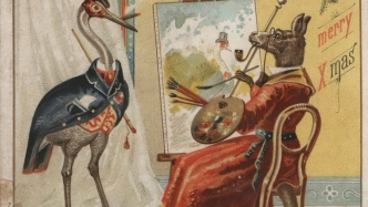 Kangaroo dressed as female artist painting a large bird dressed in waistcoat, coat and top hat.