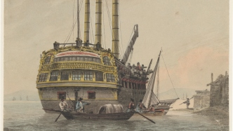 Watercolour of convict hulk with smaller boats carrying convicts in foreground