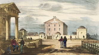 Groups of men standing or sitting in a town square, some of whom are looking back toward large building, Hyde Park Barracks, with front wall featuring dome-roofed cottages on either side of a large timber gate. Clouds drift overhead.