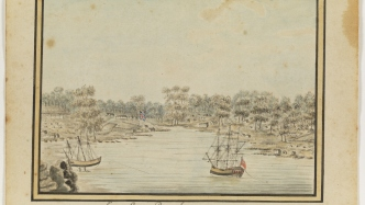 Watercolour painting of two ships on the water, with sandstone outcrop in foreground and shoreline in background.