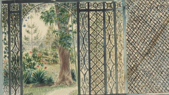 Watercolour of trellised verandah and house from garden.