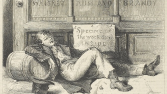 Old newspaper print cartoon of man lying drunk outside a whiskey, rum and brandy shop with a sign reading: Specimen of the work done inside.