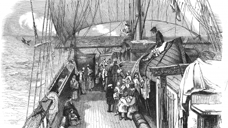 Black and white etching of ship deck with women on board.