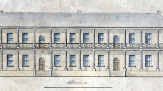 Hand coloured front elevation of the south wing.