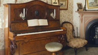 Closeup of piano.