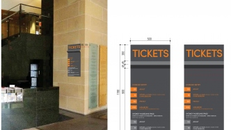 Detail of design for ticketing signage showing two views of proposed sign.