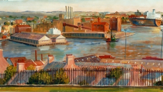 Painting of a view of Pyrmont from Observatory Hill created by Jane Bennett, 1989.
