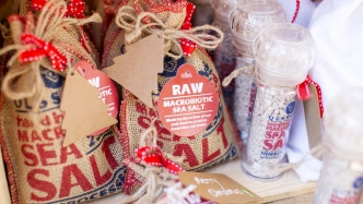 Close up of hessian salt bags