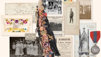mixture of images of postcards, stamps, doll, photos.