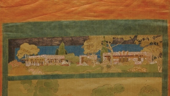Painted scene of houses.
