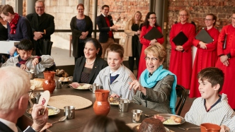NSW Governor Margaret Beazley with school children