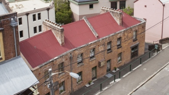 Aerial view of Susannah Place Museum, showing Gloucester Street facade