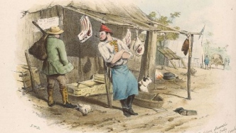 Illustration of open fronted tent stall with meat hanging from hooks, two men and a dog in front of trays and other objects.