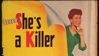 Cover of book showing title Sssh... She's a killer and lady with a finger to her lips