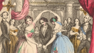 Illustration of two women dancing in large dresses at a ball