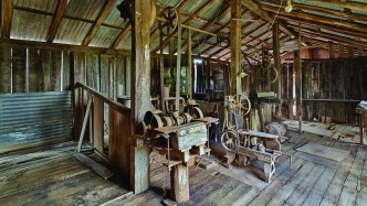 Internal view of the timber shed at Rouse Hill Estate