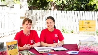 Jenny (left) supporting an event at Vaucluse House with fellow volunteer Mary