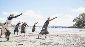 The Djaadjawan dancers performing Nangmbi Muryira as part of the Whale Ceremony on the Vaucluse Estate Beack Paddock.