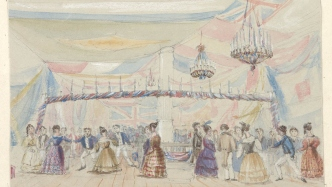 Watercolour of interior of ballroom with figures dancing.