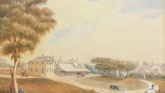 Painting of first Government House created by Jacob Janssen, 1850.