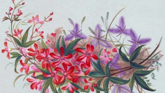 Handpainted image of wildflowers - red and purple.