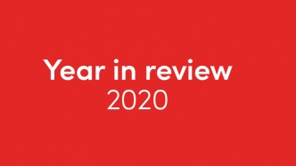 White text on red background: Year in review 2020