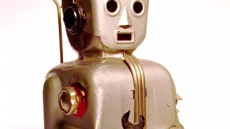 A close up photo of a robots face