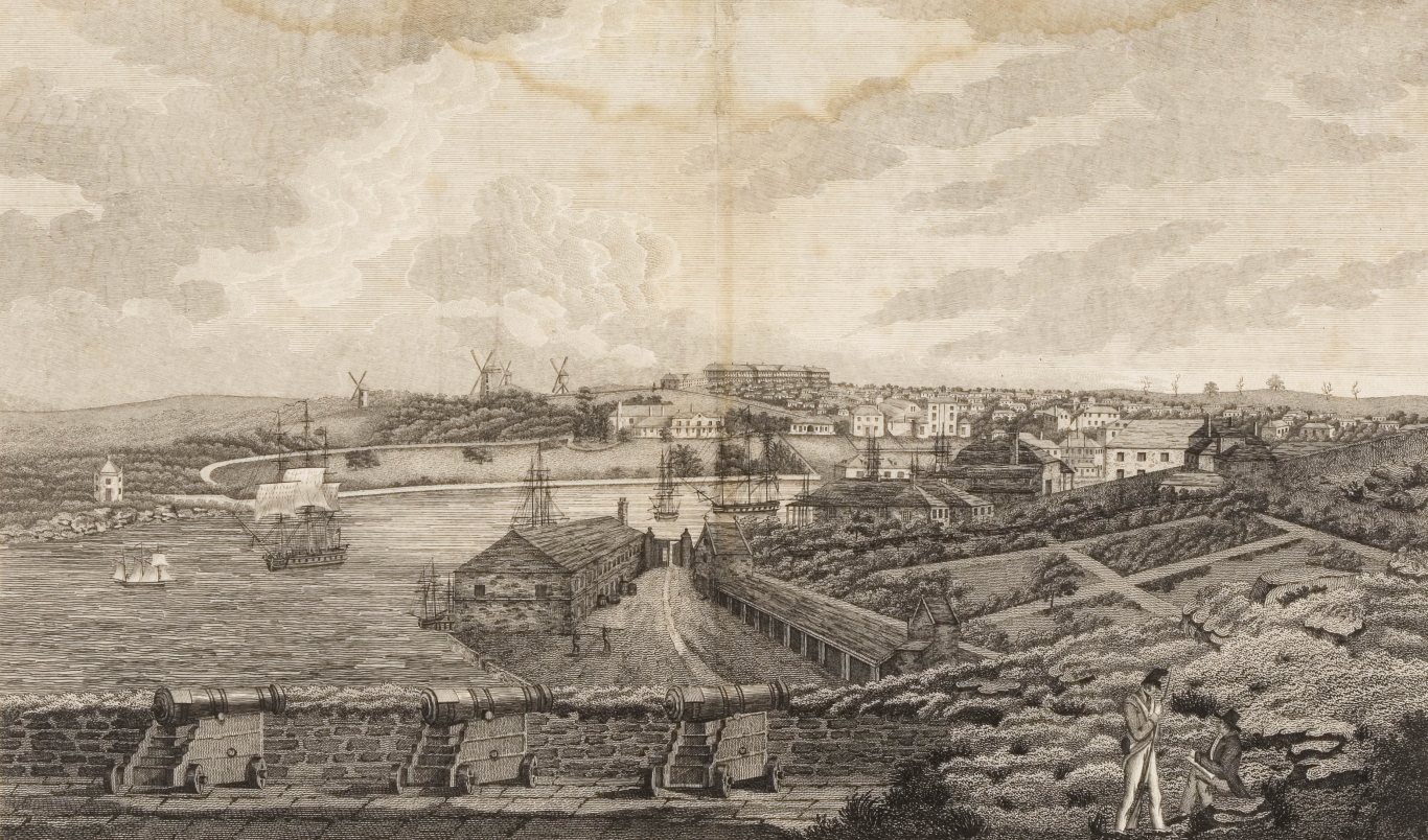 Engraving showing Sydney looking back from the end of Dawes point into Sydney Cove.