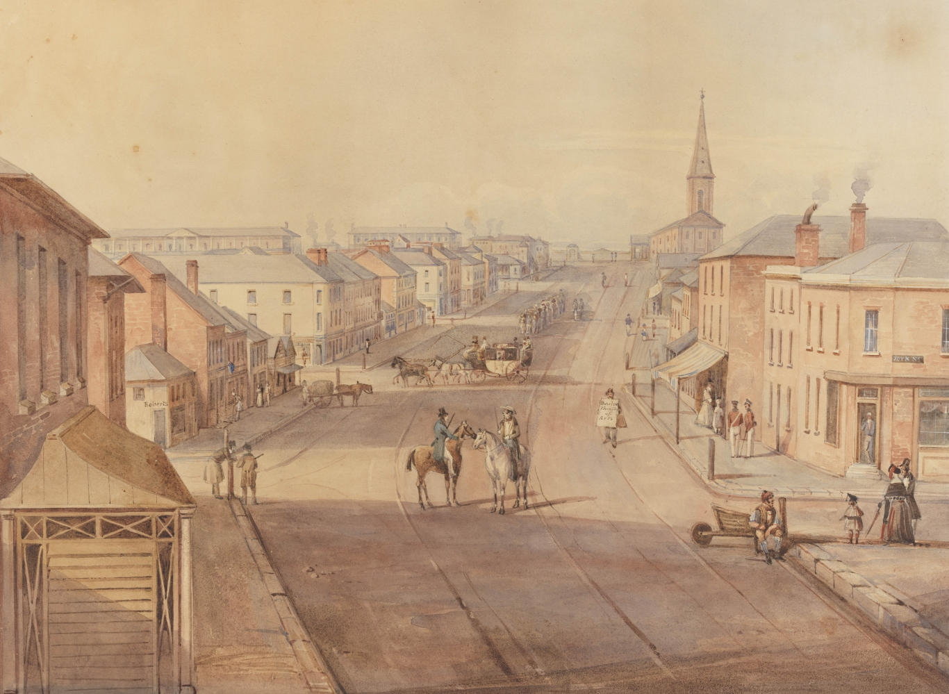 Water colour, a lot of brown colours. Shows a convict gang in the middle distance walk toward the Hyde Park Barracks.